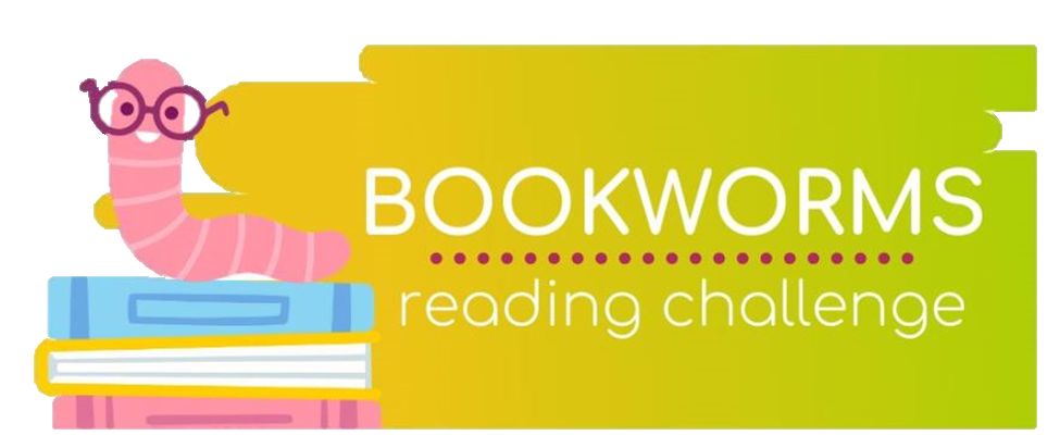 Bookworms Reading Challenge logo with a worm on top of a stack of books