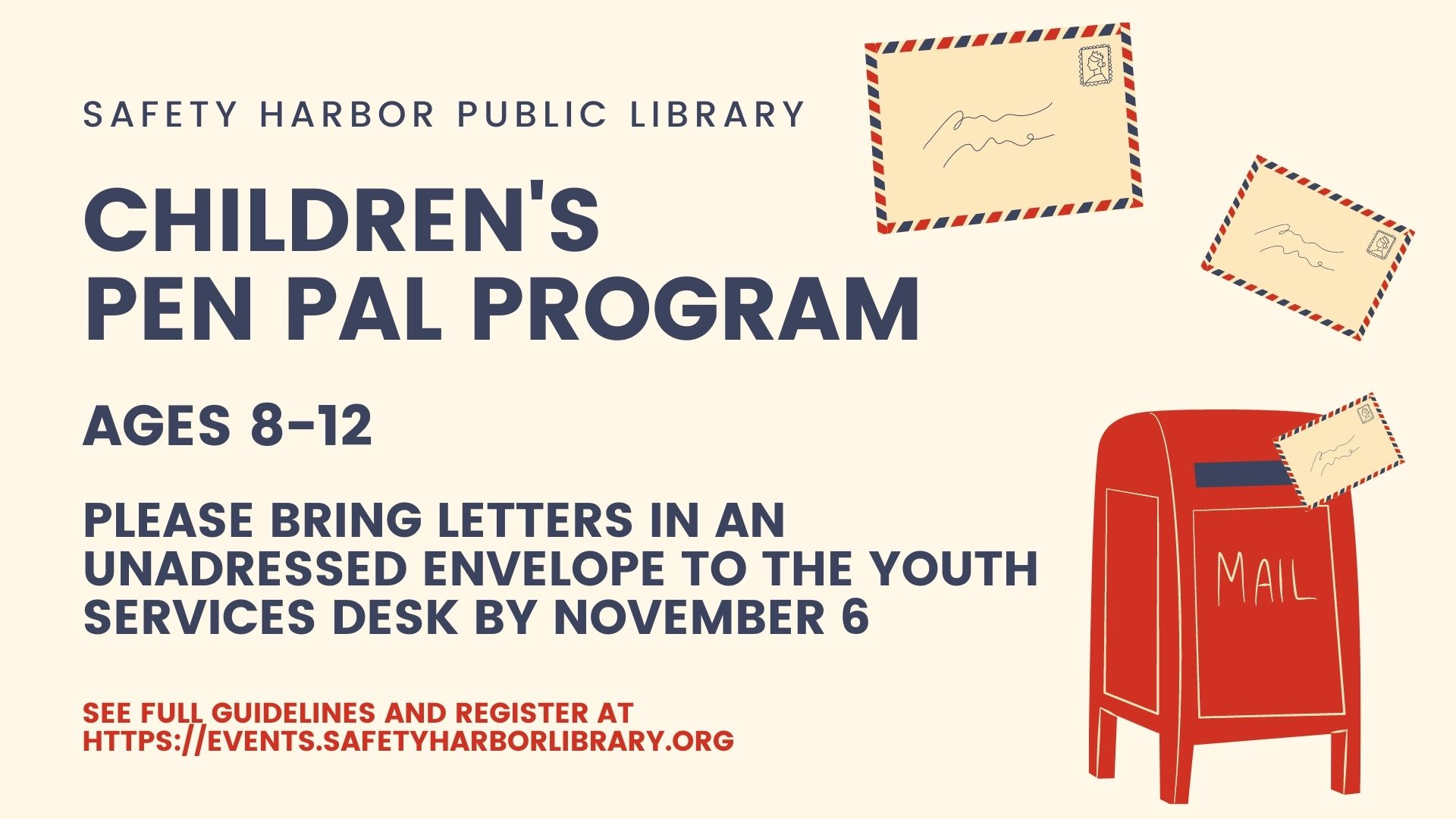Children's Pen Pal Program flyer with an image of a mailbox and letters